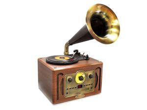 PyleHome - Vintage Classic Style Turntable Horn Phonograph with Bluetooth, AM/FM Radio, CD Player & USB Reader