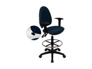 Flash Furniture Mid-Back Navy Blue Fabric Multi-Functional Drafting Stool with Arms and Adjustable Lumbar Support [WL-A654MG-NVY-AD-GG] - OEM