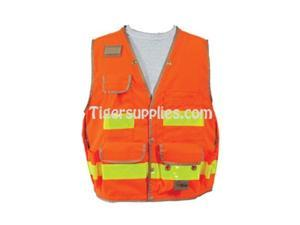 Seco 8068-Series Class 2 Lightweight Safety Utility Vest XS-Extra Small Fluorescent Orange - OEM