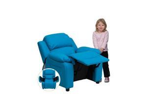 Deluxe Heavily Padded Contemporary Turquoise Vinyl Kids Recliner with Storage Arms [BT-7985-KID-TURQ-GG] - OEM