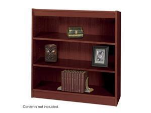 "Safco 1502MHC 3-Shelf Square-Edge Veneer Bookcase 36""w x 12""d x 48""h Mahogany - OEM"