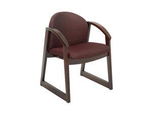 "Safco 7910BG1 Urbane® Mahogany Side Chair with Arms 22 3/4""w x 23""d x 31 1/4""h Burgundy fabric, Mahogany finish frame - OEM"