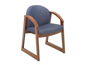 "Safco 7920BU1 Urbane® Cherry Side Chair with Arms 22 3/4""w x 23""d x 31 1/4""h Blue fabric, Cherry finish frame - OEM"