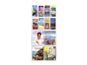 "Safco 5609CL Reveal™ 4 Magazine and 8 Pamphlet Display 21""w x 2""d x 45""h Clear - OEM"