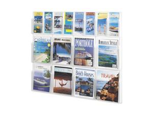 "Safco 5611CL Reveal™ 8 Magazine and 8 Pamphlet Display 40""w x 2""d x 34 3/4""h Clear - OEM"