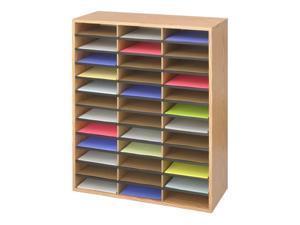 "Safco 9403MO Wood/Corrugated Literature Organizer, 36 29""w x 12""d x 34 1/2""h Medium Oak - OEM"