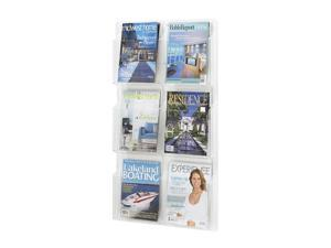 """Safco 5617CL Reveal™ 6 Magazine Display 21""""w x 2""""d x 36 3/4""""h Clear - OEM"""