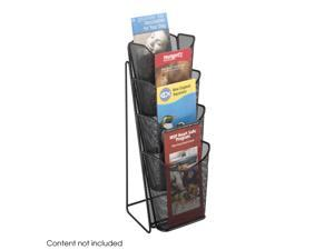 "Safco 5641BL Onyx™ Mesh 4 Pocket Pamphlet Display 5 1/4""w x 7"" d x 16 1/2"" h Black - OEM"