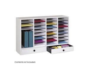 "Safco 9494GR Wood Adjustable Literature Organizer, 32 Compartment w. Drawer 39 1/4""w x 11 3/4""d x 25 1/4""h Gray - OEM"