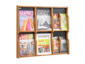 "Safco 5703MO Expose™ 6 Magazine 12 Pamphlet Display 29 3/4""w x 2 1/2""d x 26 1/4""h Medium Oak/Black - OEM"