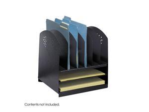 "Safco 3166BL Combination Desk Rack 6 Upright and 2 Horizontal 12 1/4""w x 11 1/4""d x 12 3/4""h Black"