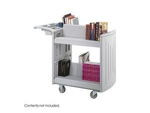 Safco 5332GR 2 Shelf Molded Book Cart in Gray