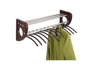 """Safco 4212MH Mode™ 36"""" Wood Wall Coat Rack With Hangers 37 1/2""""w x 17 1/2""""d x 13""""h Mahogany/Silver - OEM"""