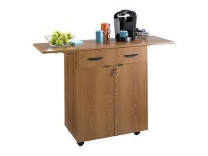 "Safco 8962MO Hospitality Service Cart 32 1/2"" to 56 1/4""w x 20 1/2""d x 38 3/4""h Medium Oak - OEM"