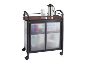 "Safco 8966BL Impromptu® Refreshment Cart 34""w x 21 1/4""d x 36 1/2""h Cherry (top)&#59;Black (frame) - OEM"