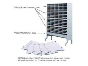 """Safco 7753GR E-Z Sort® Additional Mail Trays 11""""w x 12 1/2""""d x 1/2""""h Gray - OEM"""