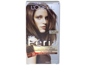 Feria Multi-Faceted Shimmering Color 3X Highlights # 50 Medium Brown - Natural by L'Oreal for Unisex - 1 Application Hair ...