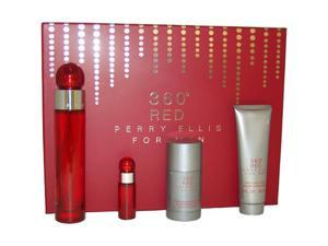 360 Red by Perry Ellis for Men - 4 Pc Gift Set 3.4oz EDT Spray, 3oz After Shave Balm, 2.75oz Alcohol Free Deodorant Stick, ...