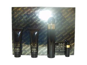 360 Black by Perry Ellis for Men - 4 Pc Gift Set 3.4oz EDT Spray ,3oz Aftershave Balm, 2.75 Deodorant Stick, 7.5ml EDT Spray