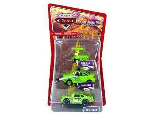 Disney / Pixar CARS 1:55 Die Cast Figure 3-Pack Team Shiny Wax (Nebekenezer Schmidt, Senior Trax and Shiny Wax)