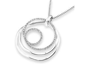 "18K White Gold Round Diamond Dynamic Motion Pendant W/925 Sterling Silver Chain 18"" (0.25 cttw, G-H Color, VS2-SI1 Clarity)"