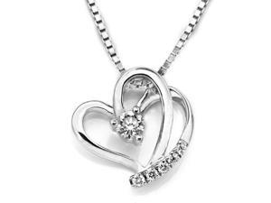 "18K/750 White Gold Double Heart Diamond Accent Pendant W/925 Sterling Silver Chain 18"" (0.14 carats, G-H color, good SI1-2 ..."
