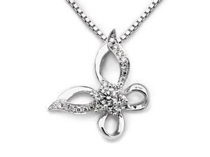 "18K White Gold Polished Finished Round Diamond Filligree Butterfly Pendant w/ 925 Sterling Silver Chain 18""  (0.19cttw, G-H ..."