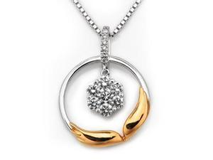 """18K/750 Rose And White Gold Wing of Angel Illusion Setting Diamond Pendant w/ 925 Sterling Silver Chain 18"""" (0.27 carats, ..."""