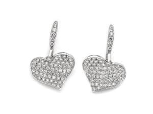18K/750 White Gold Cluster Heart Diamond Wire Earrings (0.91 carats, G-H color, SI Clarity)