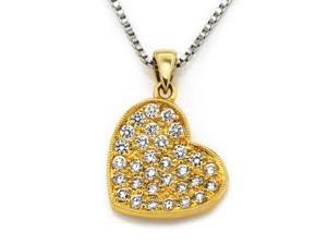 "18K/750 Yellow and White Gold Diamond Cluster Heart Pendant With 925 Sterling Silver Chain 18"" (0.40 carats, G-H color, good ..."