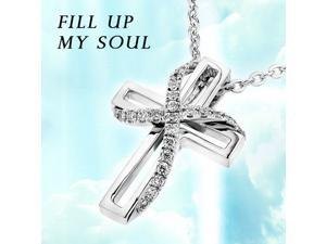 "18K/750 White Gold Twisted Cross Diamond Pendant W/925 Sterling Silver Chain 18"" (0.10cttw, G-H color, good SI1-SI2 Clarity)"