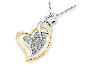 "18K/750 Yellow and White Gold Dancing Heart Cluster Diamond Pendant With 925 Sterling Silver Chain 18"" (0.49 carats, G-H ..."