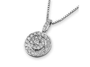 "18K/750 White Gold Illusion Diamond Pendant W/925 Sterling Silver Chain 18"" (0.39 carats, G-H color, good SI1-2 Clarity)"