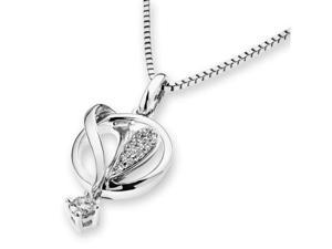 "18K/750 White Gold Cluster Heart Inside Circle Dangling Diamond Pendant W/925 Sterling Silver Chain 18"" (0.09cttw, G-H color, ..."
