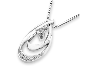"18K White Gold Waterdrop Ripple Diamond Pendant W/925 Sterling Silver Chain 18"" (0.16 cttw, G-H Color, VS2-SI1 Clarity)"