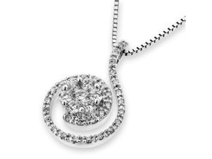 "18K White Gold Spiral With CenteRose Flower Pave Setting Round Diamond Pendant W/925 Sterling Silver Chain 18"" (0.36 cttw, ..."
