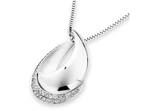 "18K White Gold Round Diamond Double Cresent (Droplet) Pendant W/925 Sterling Silver Chain 18"" (0.15 cttw, G-H Color, VS2-SI1 ..."