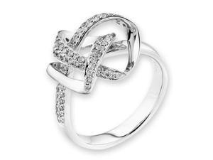 18K/750 White Gold Knot Pave-Setting Diamond Ring (0.36cttw, G-H Color, VS2-SI1 Clarity, Ring Size US 6.5)