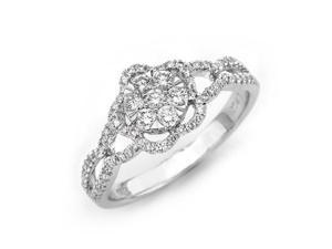 18K/750 White Gold Round Diamond Flower Shaped Illusion Engagement Ring US 6.5 (0.48cttw, G-H Color, VS2-SI1 Clarity)