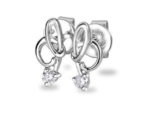 18K White Gold Infinity Solitaire Diamond Stud Earring (0.09cttw, G-H Color, VS2-SI1 Clarity)