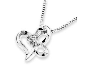"18K/750 White Gold Dancing Butterfly Solitaire Diamond Pendant W/925 Sterling Silver Chain 18"" (0.10 carats, G-H color, good ..."