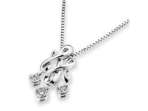 "18K/750 White Gold Gothic Style 3 Stone Dangling Diamonds Pendant W/925 Sterling Silver Chain 18"" (0.25 carats, G-H color, ..."