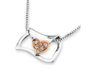 "18K/750 (2 Tones) Rose And White Gold Love Letter With Heart Diamond Pendant w/925 Sterling Silver Chain 18"" (0.05cttw, G-H ..."