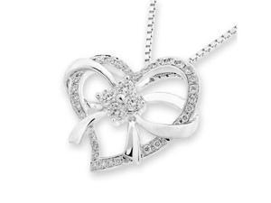 "18K/750 White Gold Ribbon Bow Heart Diamond Pendant w/925 Sterling Silver Chain 18"" (0.32cttw, G-H color, good SI1-SI2 Clarity)"