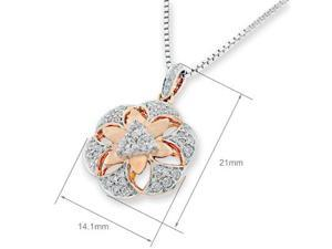"18K/750 (2 Tones) Rose and White Gold 3D Filligree Flower Diamond Pendant w/925 Sterling Silver Chain 18"" (0.37cttw, G-H ..."