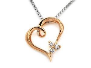 "18K/750 Rose Gold 3 Stones Hollow Heart Diamond Pendant W/925 Sterling Silver Chain 18"" (0.08cttw, G-H color, good SI1-SI2 ..."