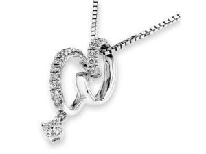 "18K/750 White Gold Infinity Ribbon Diamond Pendant W/925 Sterling Silver Chain 18"" (0.12cttw, G-H color, good SI1-SI2 Clarity)"