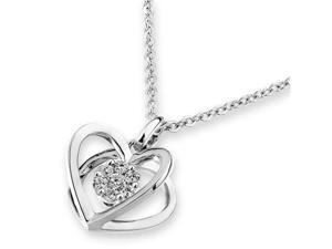 "18K/750 White Gold Diamond 3D Heart Shape Pendant W/925 Sterling Silver Chain 18"" (0.12cttw, G-H color, good SI1-SI2 Clarity)"