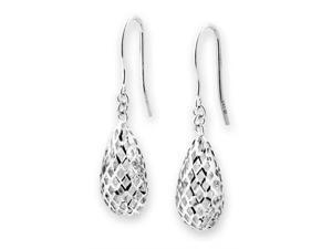 14K/585 White Gold Filigree Star Dangling Fishhook Earrings