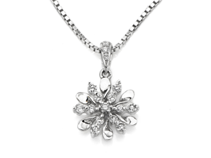 "18K/750 White Gold Diamond Pendant W/925 Sterling Silver Chain 16"" (0.16cttw, G-H color, good SI1-SI2 Clarity)"